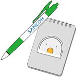 ボールペン、メモ帳
